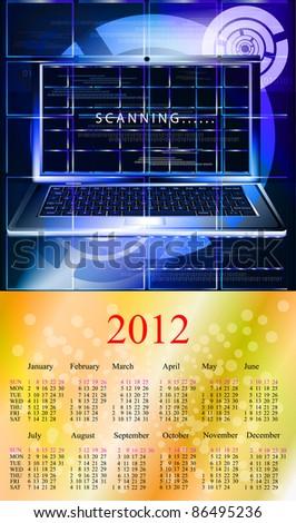 Innovative computer technologies. 2012 Calendar.Format A3 - stock vector