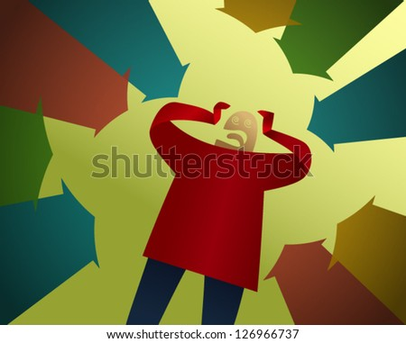 Input Overload: a person under pressure - stock vector