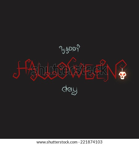inscription halloween dark red color with a luminous skull on a dark background - stock vector