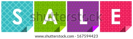 Inscription SALE on colorful backgrounds. Vector version. - stock vector