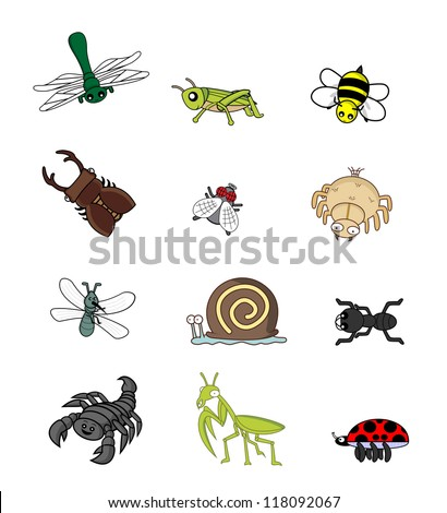 insect animal set - stock vector