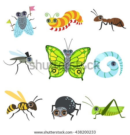 Insect Cartoon Images Collection In Cute Girly Style Flat Isolated Icons On White Background - stock vector