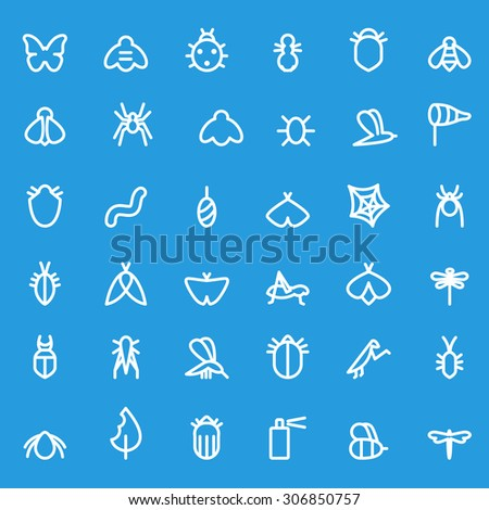 Insect icon set, simple and thin line design - stock vector