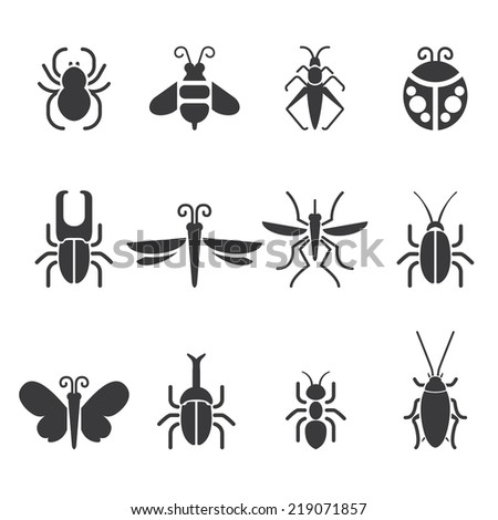 Insect Silhouette icons - stock vector