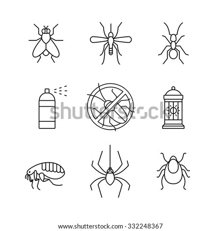 Insects control, anti pest emblem, insecticide, thin line art icons set. Modern black symbols isolated on white for infographics or web use. - stock vector