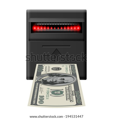 Inserting hundred dollar banknote into terminal cash receiver  - stock vector