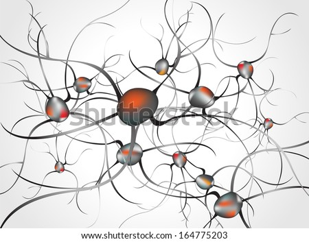 Inside the brain. Concept of neurons and nervous system  vector - stock vector