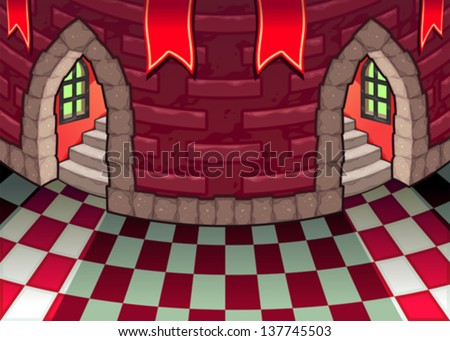 Inside the castle. Cartoon and vector illustration. - stock vector