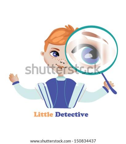 Inspector cartoon , Little detective - stock vector