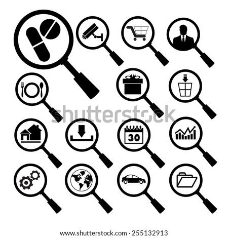 inspector vector data black icon set - stock vector