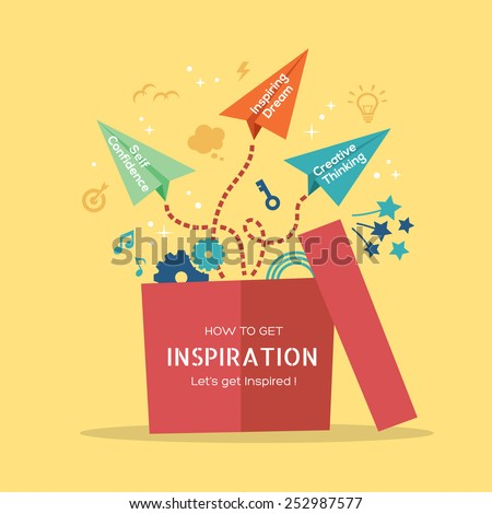 Inspiration concept vector Illustration with paper plane flying out of the box - stock vector
