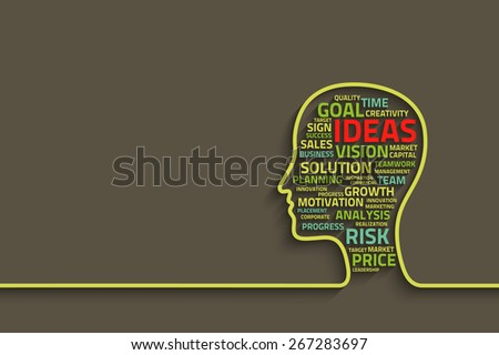 inspiration concept with head and business words, eps10 vector background for your design - stock vector
