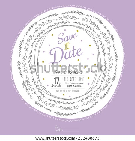 Inspirational romantic and love Save the Date invitation card for in bright colors. Stylish template for wedding, marriage, invitations. Greeting illustration wreath with lovely wish - stock vector