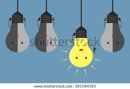 Inspired glowing light bulb character in aha moment hanging among three gray dull ones. EPS 10 vector illustration, no transparency - stock vector