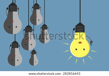 Inspired glowing light bulb character in moment of insight hanging beside many gray dull ones. Innovation, motivation, insight, inspiration concept. EPS 10 vector illustration, no transparency - stock vector