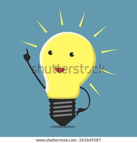 Inspired light bulb character, aha moment, EPS 10 vector illustration - stock vector