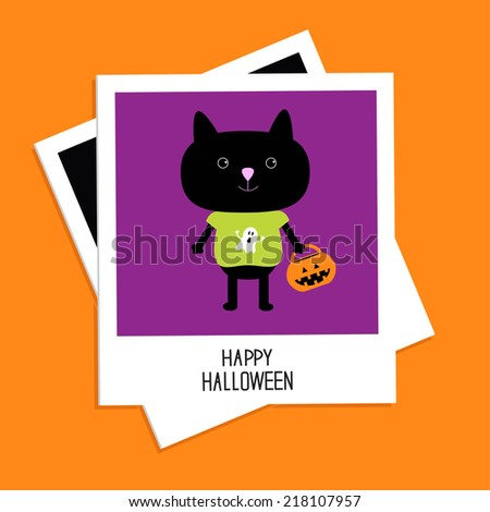 Instant photo with black cat and trick or treat pumpkin bucket. Happy Halloween card. Flat design. Vector illustration - stock vector