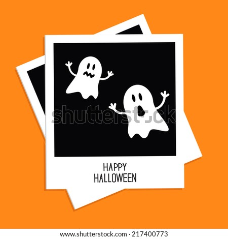 Instant photo with Two funny ghosts. Happy Halloween card. Flat design. Vector illustration - stock vector