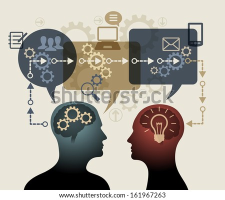 Instructive concepts and ideas. Two silhouettes of people surrounded by speech bubbles, gears, arrows and icons. The file is saved in the version AI10 EPS. This image contains transparency. - stock vector