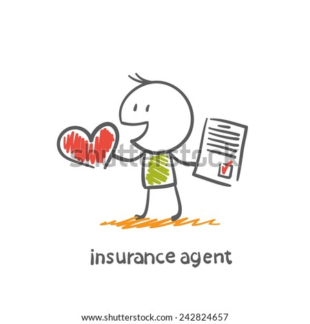 insurance agent offers to insure the health of illustration - stock vector