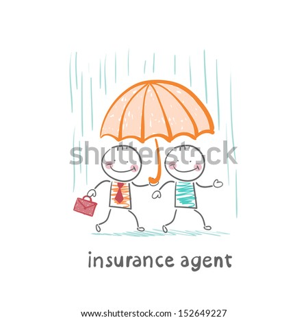 insurance agent protects a person from the rain umbrella - stock vector