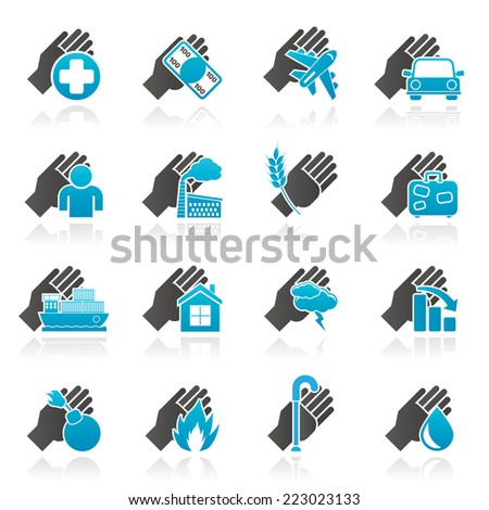 Insurance and risk icons - vector icon set - stock vector