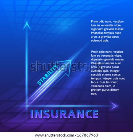 Insurance - Business Background / Vector illustration of financial chart, blue tones and blur effect, bright glow - stock vector