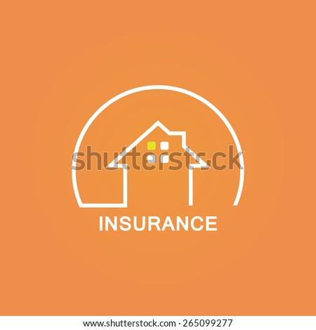 Insurance company logo like house icon isolated on orange background art - stock vector