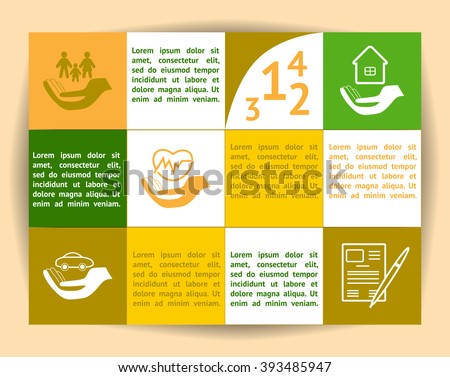 Insurance elements Infographic. Life , property, auto, accident and business insurance. Template with space for text. - stock vector