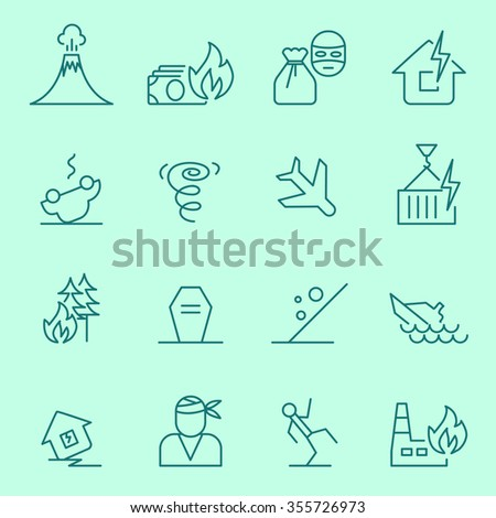 Insurance events and natural disasters icons, thin line flat design - stock vector