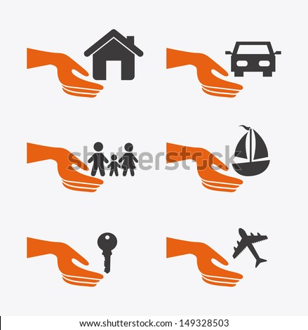 insurance icons over white background vector illustration - stock vector