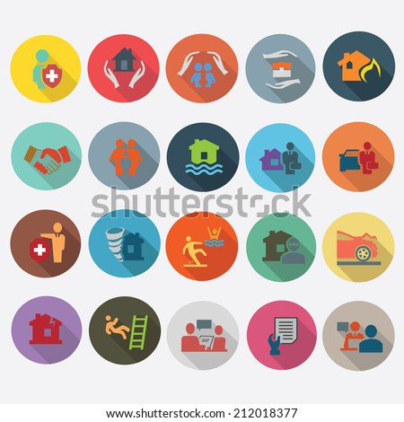 Insurance icons set in flat design with long shadow. Illustration EPS10 - stock vector