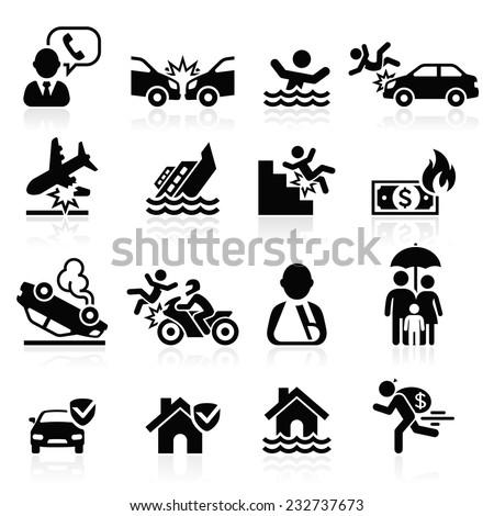 Insurance icons set. Vector Illustration. - stock vector
