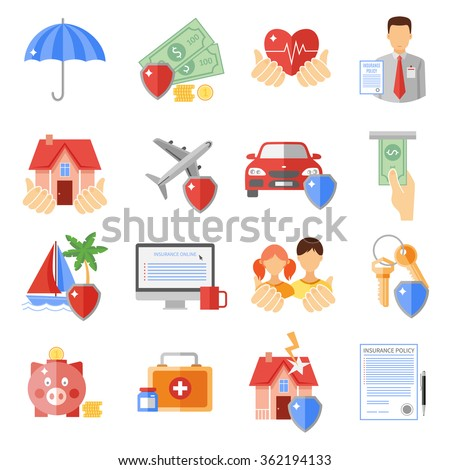 Insurance icons set with house transport and life safety symbols flat isolated vector illustration  - stock vector