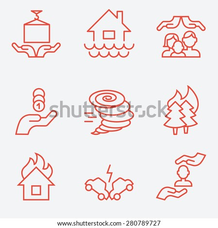 Insurance icons, thin line style, flat design - stock vector