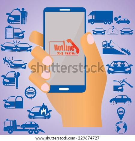 Insurance on mobile - stock vector