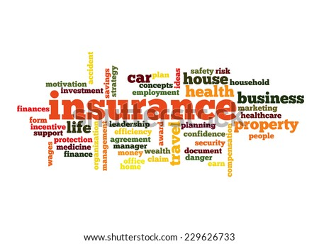 Insurance Word Cloud Concept in red  with great terms such as auto, house, travel and more - stock vector