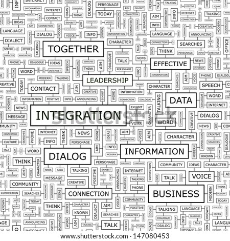 INTEGRATION. Concept vector illustration. Word cloud with related tags and terms. Graphic tag collection. Wordcloud collage.  - stock vector