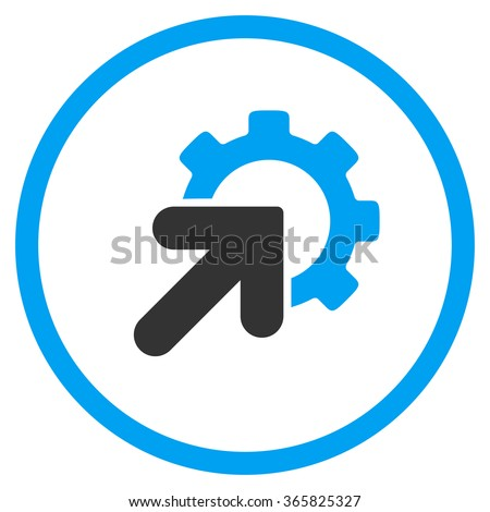Integration vector icon. Style is bicolor flat circled symbol, blue and gray colors, rounded angles, white background. - stock vector
