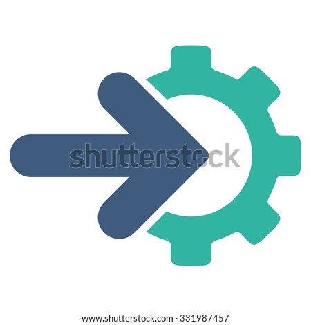 Integration vector icon. Style is bicolor flat symbol, cobalt and cyan colors, rounded angles, white background. - stock vector