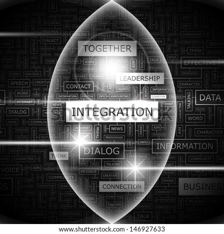INTEGRATION. Word cloud illustration. Tag cloud concept collage. Vector text illustration.  - stock vector