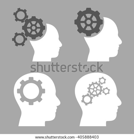 Intellect Gears vector icons. Style is bicolor dark gray and white flat symbols on a silver background. - stock vector