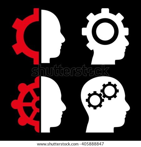 Intellect Gears vector icons. Style is bicolor red and white flat symbols on a black background. - stock vector