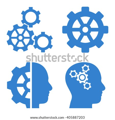 Intellect Gears vector icons. Style is cobalt flat symbols on a white background. - stock vector