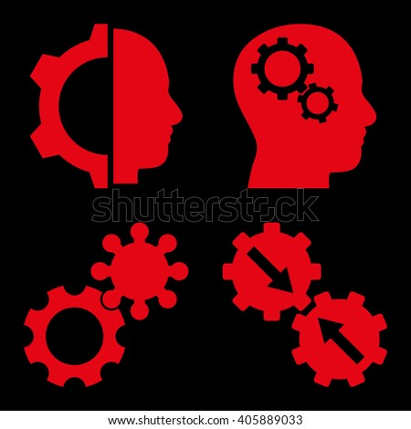 Intellect Gears vector icons. Style is red flat symbols on a black background. - stock vector