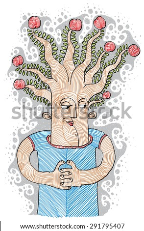 Intellectual product concept. Tree of life idea vector illustration. Hand-drawn picture of a human being with symbolic fruit tree as a thinker metaphor.  - stock vector