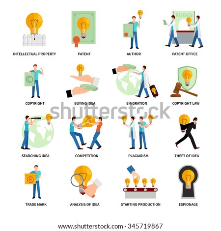 Intellectual property flat icons   set with author trademark copyright symbols isolated vector illustration - stock vector