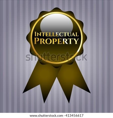 Intellectual property golden emblem - stock vector