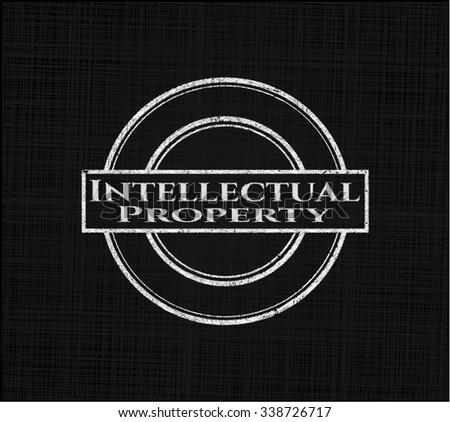 Intellectual property on blackboard - stock vector