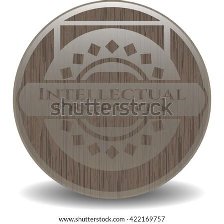Intellectual property vintage wooden emblem - stock vector